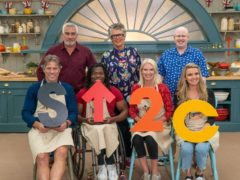 John Bishop, Ade Adeptian, Anneka Rice and Nadine Coyle with Paul, Prue and Matt in The Great Celebrity Bake Off (Channel 4)