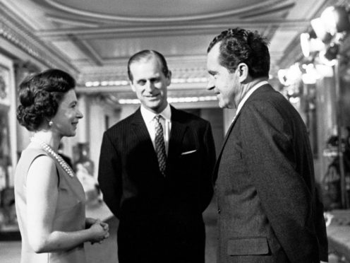 The Queen and the Duke of Edinburgh with Richard Nixon in Buckingham Palace (PA)