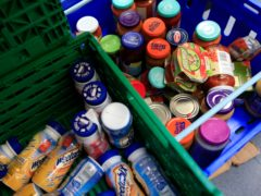 Stocks of food at the Trussell Trust Brent Foodbank, Neasden, London (Jonathan Brady/PA)