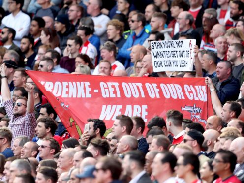 Arsenal fans are once again set to protest against owner Stan Kroenke on Friday night (Adam Davy/PA)
