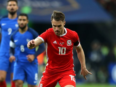 Aaron Ramsey in action for Wales against France during a Paris friendly in November 2017 (Steven Paston/PA)