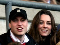 Prince William and his girlfriend Kate Middleton enjoy the rugby as England play Italy in the RBS Six Nations Championship at Twickenham in 2007 (David Davies/PA)
