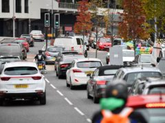 Traffic in Anchor Road in Bristol City centre, as Bristol could become the UK's first city to introduce a ban on diesel vehicles to boost air quality following a vote by the council�s cabinet which is being asked to approve the Clean Air Zone proposal at a meeting on November 5.