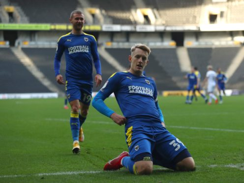 Joe Pigott, right, scored a brace for AFC Wimbledon (Bradley Collyer/PA)