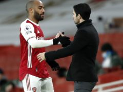 The form of Alexandre Lacazette, left, has pleased Arsenal boss Mikel Arteta (Andrew Boyers/PA)