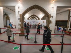 The crypt of Blackburn Cathedral, which is doubling as a Covid-19 vaccination centre (Peter Byrne/PA)