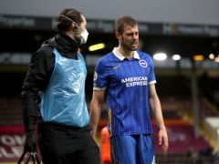 Brighton defender Adam Webster, right, suffered injury in the draw at Burnley on February 6 (Molly Darlington/PA)