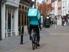Food delivery giant Deliveroo saw orders growth surge over the three months to the end of March (David Davies/PA)