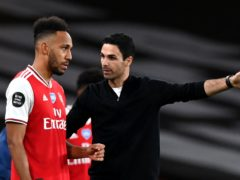 Mikel Arteta, right, insists Pierre-Emerick Aubameyang is committed to Arsenal (Shaun Botterill/PA)