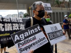 Outspoken Hong Kong pro-democracy advocate and media tycoon Jimmy Lai, not shown, is among seven advocates who have been convicted of being part of an unlawful assembly during massive anti-government protests in 2019 (Vincent Yu/AP)