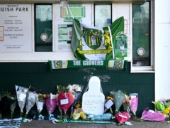 Tributes were left outside the ground (Simon Galloway/PA)
