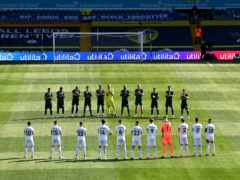 Leeds and Sheffield United players took part in a minute's applause in memory of Peter Lorimer (Laurence Griffiths/PA)