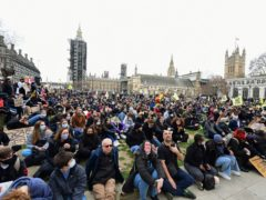 Demonstrators during a 'Kill the Bill' protest in Parliament Square (Ian West/PA)