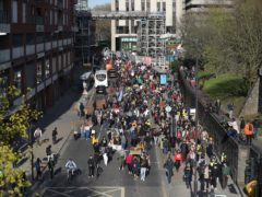 Demonstrators take part in a 'Kill The Bill' protest march in Bristol (Be Birchall/PA)