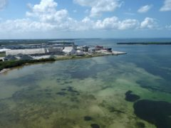 The old Piney Point phosphate mine pond is leaking water (Tiffany Tompkins/The Bradenton Herald via AP)