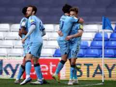 Coventry striker Matty Godden, right, celebrates scoring against Bristol City (Bradley Collyer/PA)