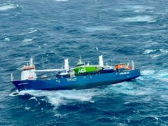 A view of the Dutch cargo ship Eemslift Hendrik (Rescue Helicopter Floro/HSS Sor-Norge/NTB via AP)