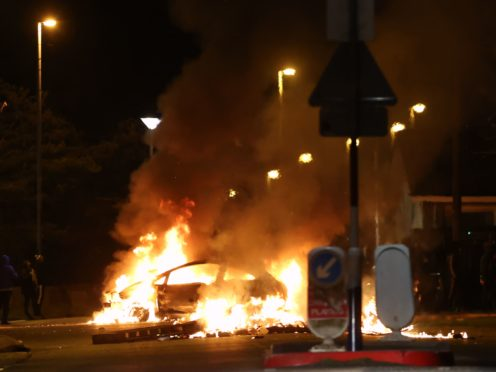RETRANSMITTED CORRECTING KEYWORDS A car burns on Sperrin Park, Waterside, Londonderry. Picture date: Monday April 5, 2021.