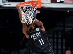 Brooklyn Nets' Kyrie Irving helped his side to victory over the New York Knicks (Frank Franklin II/AP)
