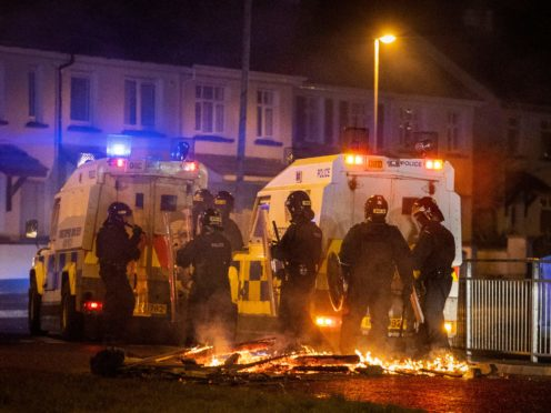 Police came under attack during another night of violence and disorder in a number of loyalist areas in Northern Ireland on Monday (Liam McBurney/PA)