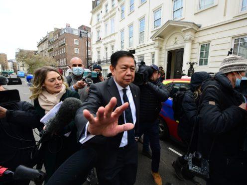 Myanmar's former ambassador to the UK, Kyaw Zwar Minn, outside the Myanmar embassy in Mayfair, London (Ian West/PA)