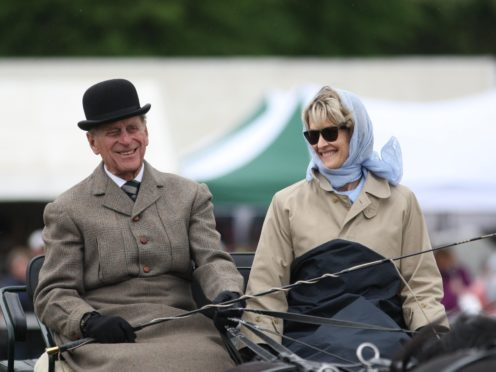 The Duke of Edinburgh with Lady Brabourne, now Countess Mountbatten of Burma (Steve Parsons/PA)