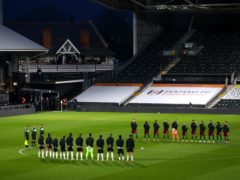 Fulham and Wolves players observe a two-minute silence in memory of the Duke of Edinburgh (Clive Rose/PA)