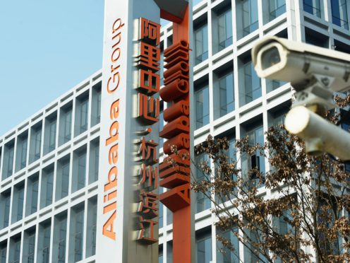 The logo for Alibaba Group is seen at the company's headquarters in Hangzhou in eastern China's Zhejiang Province (Chinatopix via AP)
