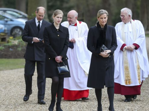 The Earl and Countess of Wessex, with their daughter Lady Louise Windsor, attend the Sunday service at the Royal Chapel of All Saints at Royal Lodge, Windsor, on Sunday (Steve Parsons/PA)