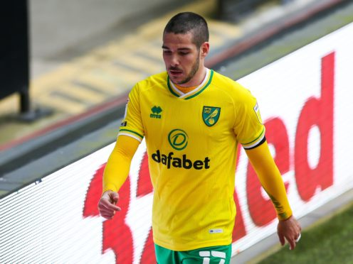 Norwich midfielder Emi Buendia was taken off during the second half at Derby (Barrington Coombs/PA)
