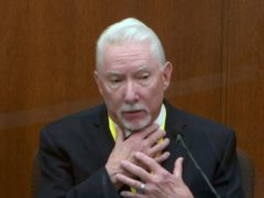 Former police officer Derek Chauvin was justified in pinning George Floyd to the ground because he kept struggling, a use-of-force expert has testified (Court TV/Pool/AP)
