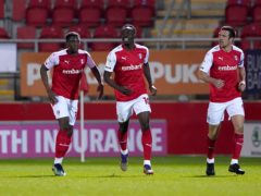 Freddie Ladapo, centre, is a doubt for Rotherham against Coventry (Zac Goodwin/PA)