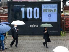 A countdown clock in Tokyo on Wednesday shows 100 days to go until the Games (Koji Sasahara/AP)