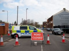 The scene at the industrial premises on Western Road near Birmingham's City Hospital where a murder investigation has been launched (Jacob King/PA)