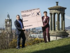 Douglas Ross and Ruth Davidson campaign for Scots to use their list vote to support the Scottish Conservatives (Jane Barlow/PA)
