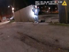 An image from Chicago Police Department body cam video shows the moment before Chicago Police officer Eric Stillman fatally shot 13-year-old Adam Toledo (Chicago Police/AP)