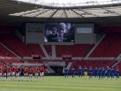 Footballers stood for a minute's silence in memory of the Duke of Edinburgh (Richard Sellers/PA)