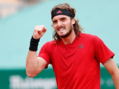 Stefanos Tsitsipas celebrates reaching the final in Monte-Carlo (Jean-Francois Badias/AP)