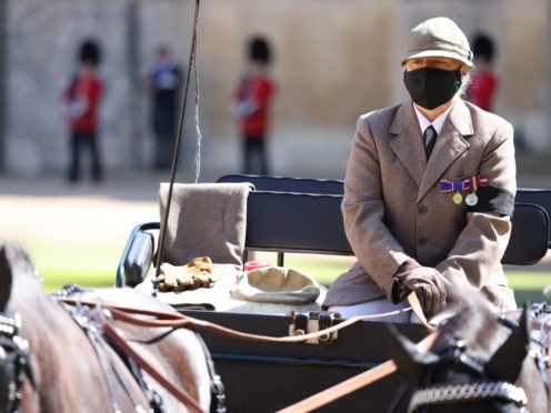 The Duke of Edinburgh's driving carriage arrives ahead of the funeral at Windsor Castle (Ian Vogler/Daily Mirror/PA)