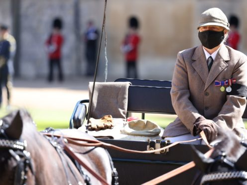 The Duke of Edinburgh's driving carriage arrives in the Quadrangle (Ian Vogler/Daily Mirror)