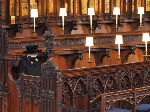 The Queen takes sat alone for the funeral of the Duke of Edinburgh (Jonathan Brady/PA)