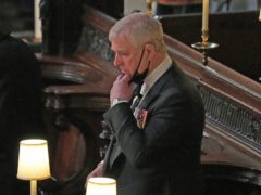 The Duke of York during the funeral of the Duke of Edinburgh in St George's Chapel, Windsor Castle, Berkshire (Yui Mok/PA)