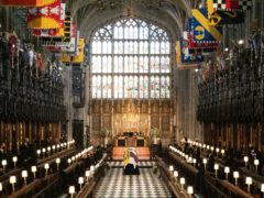 The coffin of the Duke of Edinburgh during his funeral at St George's Chapel (Barnaby Fowler/PA)