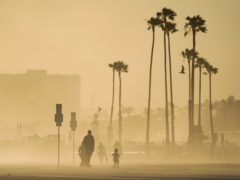 People walk and skateboard on a beach path as evening winds kick up sand in Long Beach, California (Ashley Landis/AP)