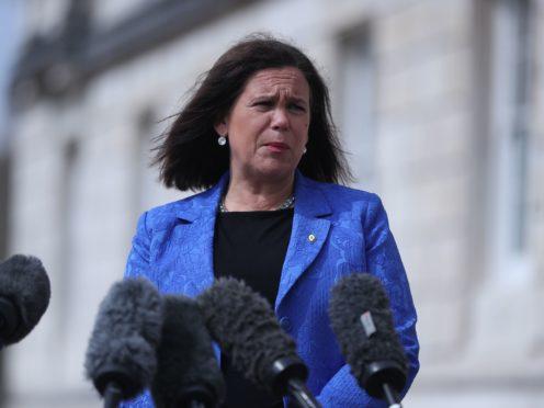 Sinn Fein leader Mary Lou McDonald outside Stormont in Belfast (Niall Carson/PA)