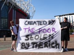 Fans protest against the Super League outside Old Trafford on Monday, April 19 (Tim Markland/PA)