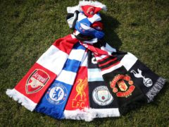 Scarves of the 'Big Six' clubs who have withdrawn from the European Super League (Yui Mok/PA)