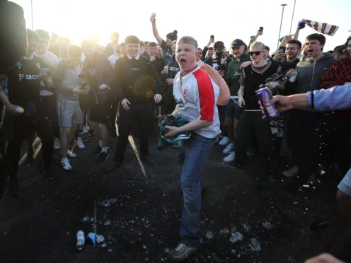 Fans gathered outside Elland Road to protest against a Super League (Zac Goodwin/PA)