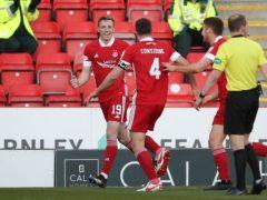 Aberdeen's Lewis Ferguson, left, scored against Celtic (Jane Barlow/PA)