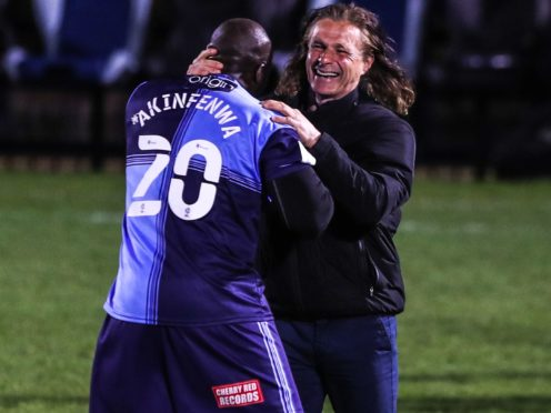 Adebayo Akinfenwa (left) celebrates with Wycombe Wanderers manager Gareth Ainsworth (right) (Kieran Cleeves/PA)